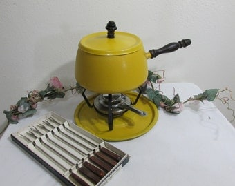 Fondue Set with 6 Boxed Forks 1970s Mustard Yellow