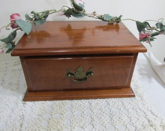 Wood Box Single Drawer Jewelry Chest Keepsake Box Handkerchief Storage