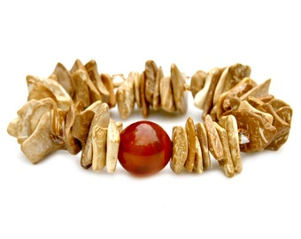 Wood Chip Bracelet Boho Chic Natural Golden Honey Brown Stackable Statement Stretch Bracelet Wooden Rustic Tribal Goddess Style by Mei Faith