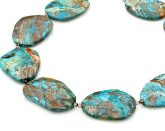 Ocean Jasper STATEMENT Necklace Large Faceted Slab Chunky Stones Turquoise Blue Copper Gold Tribal Rock Nature Goddess Style by Mei Faith