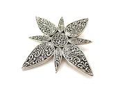 Vintage Signed John Hardy Silver Tone Metal & Black Enamel Celtic Knot Design Star or Sunburst Dress Clip/Scarf Clip