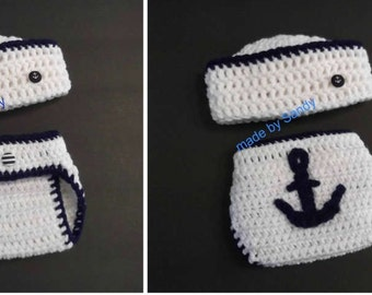 Nautical Sailor Hat and Anchor Diaper Cover Set - nb - white and navy blue