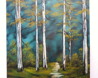 """Bob Ross Style Oil Painting Green Blue Deep Woods Forest Foliage Wilderness Landscape, """"Silent Forest"""" 16 x 20 Stretched Canvas"""