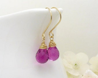Small bright pink earrings in 14kt gold fill, hot pink quartz wire wrapped drop dangle earrings