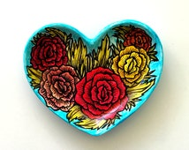 Heart Dish Ceramic Painted Colorful Roses Flowers Folk Art Jewelry Tray Home Decor Turquoise Red Orange Yellow Green - READY TO SHIP