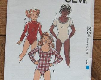 vintage 1994 kwik sew pattern 2354 girls BODYSUITS sz 8-10-12-14 uncut