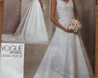 2010 Vogue pattern 1163 misses Wedding Bridal Gown with train uncut sz 14-16-18-20