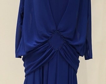 1990s Vintage Semi Formal Dress - Royal Blue Electric Blue with Beads - Drop Waist Beaded Dress by Casadei - Mother of Bride Groom - 36 Bust