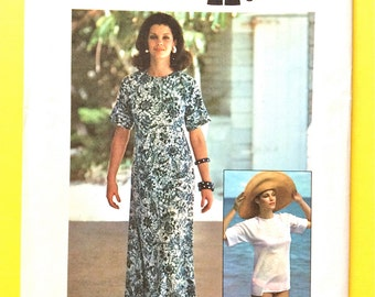 Uncut 1970s Caftan Simplicity 6922 Misses Jiffy Knits Pullover Caftan or Top  Tee Shirt Stretch Knits Only Vintage Sewing Pattern Size Large