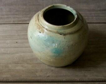 Vintage Raku Pot ~ Orb Pot ~ Small Primitive Container