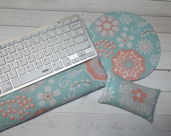floral Keyboard rest and or WRIST REST MousePad set  coworker gift - office Desk Accessories