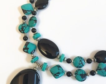 Big Bold Chunky Necklace, Black and Turquoise Blue, necklace Earring Set