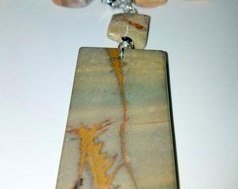 100% Natural Multi-Color Picasso Jasper Pendant with Natural Multi-Color Opal Swirl Gemstone Necklace