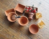 Dollhouse Miniature Gardening Supplies: Box of Tomatoes, trowel, Clay Pots, Watering Can #153