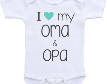 I love my Oma and Opa Onesies® brand Gerber Onesie Bodysuit. Baby shower gift, grandparents gift, baby shirt. Oma and Opa Onesie ®