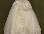 "Angela West ""Katherine ELise"" First Communion Dress French net with reembroidered lace"