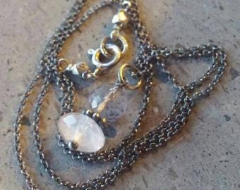 Minimalist Necklace - Pink Quartz and Rose Quartz Necklace Genuine Gems - Petite, Tiny, Small Layering Jewelry