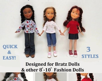 "Basic T-Shirt Pattern Tutorial Pictorial PDF Doll Clothes Tee Shirt Fits 9""  Bratz Licca Jenny Blythe Skipper  Fashion Dolls"