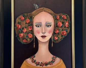 Wings of May, Original FRamed Painting by Alisa Proctor, Whimsical Art Portrait