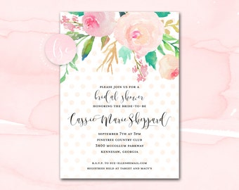 Bridal Shower Invitation Printable, Blush Watercolor Floral Polka Dot Bridal Shower Invitation, Printable Bridal Shower Invite, Pink Gold