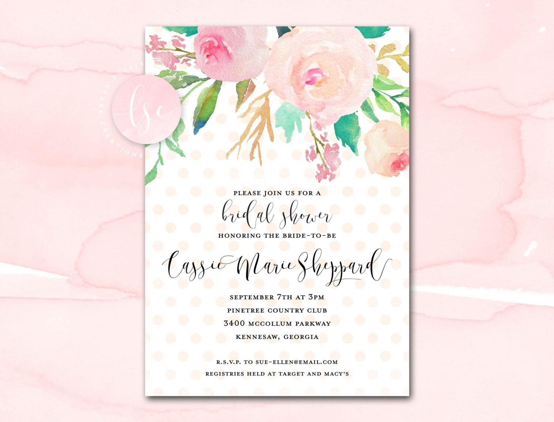Bridal Shower Invitation Printable Blush Watercolor Floral