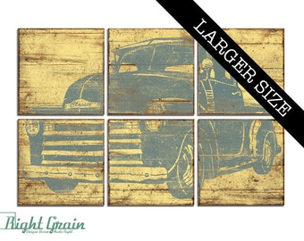 EXTRA Large Vintage Pickup Truck Art - Old Truck Wall Decor - Vintage Hot Rod - Perfect for boys rooms 32x48