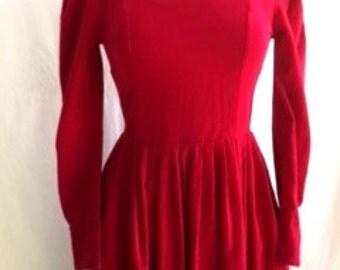 Vintage Lipstick RED CORDUROY Laura Ashley Dress