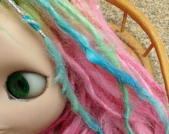 Doll Accent Dreads made with Suri Alpaca 12 inches long Blue Green Sea Shell