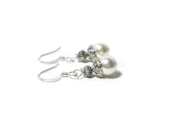 Swarovski Pearl Earrings ,  White Pearl Earrings  , Gift For Her , Sterling Silver  Earrings , Crystal Pearls