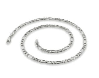 4MM Sterling  Silver Figaro Chain - 18 Inch  Figaro Chain Necklace