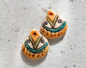Rustic Primitive Earring Charm Pair in Ivory, Blue, Green, and Yellow