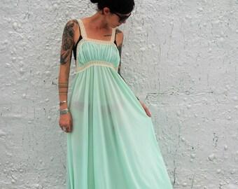 1970s Vintage Mint Green Nightgown Silky Sexy Maxi Lingerie Sleepwear XS/S
