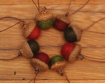 Felted Wool Acorns Ornaments in Red and Green, also available without hangers
