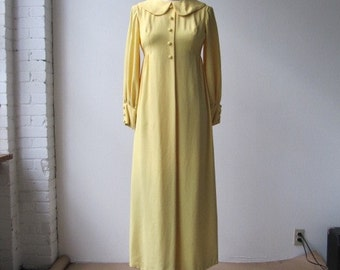 1960s vintage pale yellow maxi dress with peter pan collar and peasant sleeve