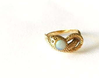 V I N T A G E // iridescent serpent / 14k and genuine opal / size 5.75-6