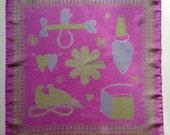 Hand Screen Printed Silk Love Token Handkerchief Pink/Green/Grey