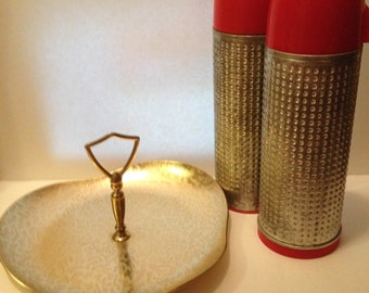 Vintage Aladdin Thermos, Dimpled Aluminum, Two Thermos