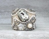 For Brandi Fabric Cuff Bracelet-Wedding Pearl & Crystal Bridal Cuff for Bohemian Bride by Sharona Nissan (sample sale)