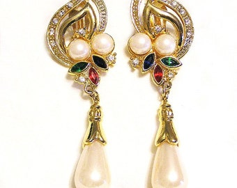 Fashion Jewellery Clip Earrings 4 Inches, Huge Pearl Drop and Crystals
