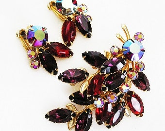 Beau Jewels Amethyst and Ruby Brooch and Earrings Set or Demi Parure