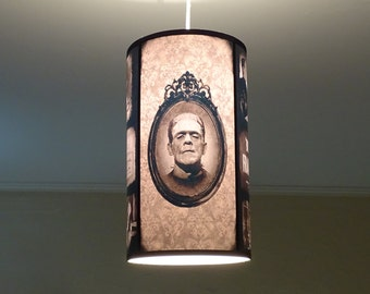 Bride Of Frankenstein pendant light shade Lampshade - gothic decor, classic horror movie, goth decor, ceiling pendant lamp shade,damask