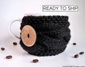 Black Coffee Mug Cozy, Coffee Cup Cozy, Coffee Cup Sleeve, Tea Cozy, Coffee Cozy, Chunky Knit Cup Cozy Knit Coffee Cozy Vegan Gift Mens Gift