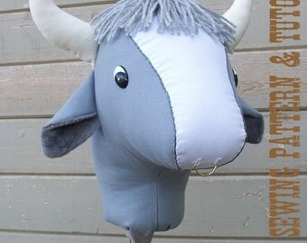 Stick Bull Sewing Pattern and Tutorial Stick Horse Hobby Horse Cow