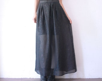 70s maxi skirt. black sheer skirt. chiffon maxi skirt - medium