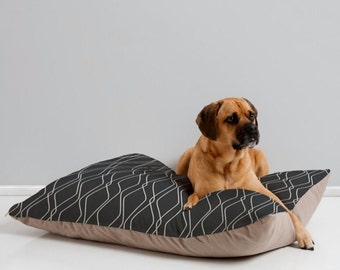 Black Dog Bed Pillow // Modern Geometric Design // Pet Bedding // Animal Pillow // Modern Geometric Pet Bedding // Fuge Slate Design