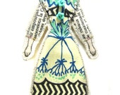 Modern Vintage Look Small Flat Doll Ornament Handmade Fabric Doll Decoration Embellished Textile Art Doll Fabric Art Doll Ornament