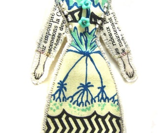 Modern Vintage Look Small Flat Doll Ornament Handmade Fabric Doll Decoration Embellished Textile Art Doll Fabric Art Doll Ornament