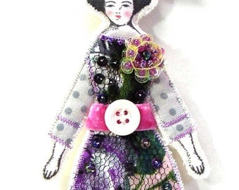 Small Flat Big Flower Lady Doll Ornament Handmade Modern Vintage Look Fabric Doll Decoration Embellished Art Doll Ornament