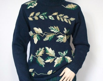 Sweater Navy Blue Pullover 1980's Vintage Embroidered Mock Turtle Neck Knit Sweater Size Small