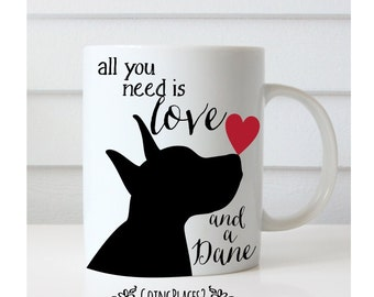 Great Dane Gifts, Great Dane Art, Dog Art, Black Dog Art, Rescue Dog, Dog Lover Gift, Dog Gifts, Dog Rescue, All You Need is Love and a Dane